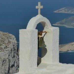 Clocheton de la hapelle sur le chemin de randonnée allant de Aegiali à Chora (Amorgos)