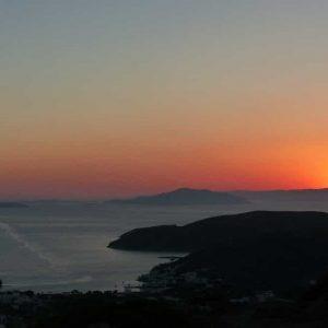 Coucher de soleil entre Chora et Katapola 'Amorgos)