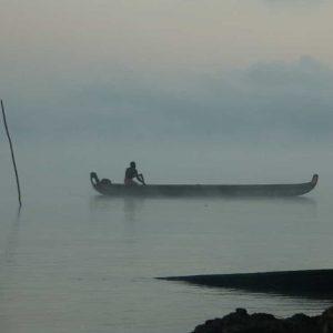 Pirogue dans la brume matinale