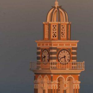 Coucher de soleil sur un clocher à Santorin