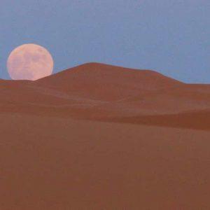 Lever de lune sur les dunes de Merzouga