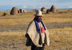 Un indien Uru-Chipayas sur l'Altiplato en Bolivie